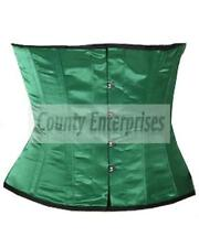 Full Steel Boned Shaper Waspie Cincher Taillen Waist Slimming Green Satin Corset