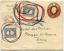 ITALY 1917 POSTAGE DUES on GB STATIONERY ENV...QUARTIERE POSTALE 6 HANDSTAMP