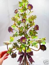 """Large 32"""" Mid Century Italy Violet Colored Flower Wall Candle Sconce  with Bow"""