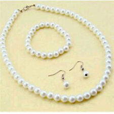 CHIC Women 7-8mm Natural Freshwater Pearl Necklace Bracelet Earrings Set New