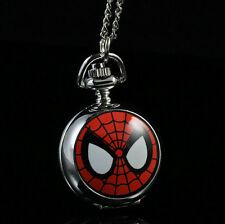 Marvel Super Heros Spiderman Necklace Pocket Watch Child Boy Watch Fashion Sp
