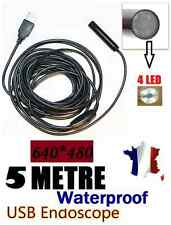 Endoscope USB couleur et étanche-Câble de 5M-Mini DV caméra espion avec LED