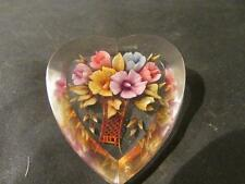 Beautiful Vintage Quality Reverse Carved Floral Lucite Heart Brooch