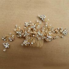 Vintage Gold Wedding Party Hair Comb Crystal Vine Bridal Accessories Handmade