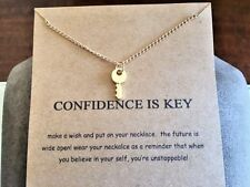 Key Necklace gold dip 16-18 positive believe confidence Realtor graduation gift
