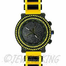 MENS ICED OUT YELLOW/BLACK MICHAEL JORDAN JUMPMAN LOGO BULLET BAND WATCH