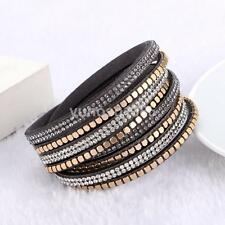 GOLD SLAKE BRACELET FAUX LEATHER WRAP AROUND BRACELET CUFF GREY