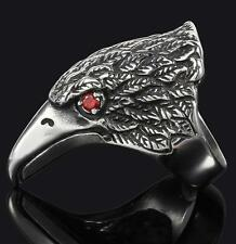 EAGLE HEAD RED CRYSTAL EYES STAINLESS STEEL RING size 9 silver metal S-530 biker