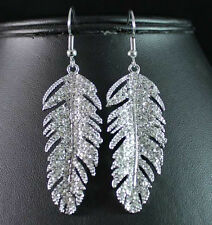 FEATHER CLEAR AUSTRIAN RHINESTONE CRYSTAL DANGLE EARRINGS BRIDAL PROM E1712S