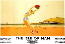 Isle of Man Deco Beach Scene A3 Art Poster Print