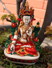 "White Tara Statue 5.8"" Handpainted Resin Nepal"