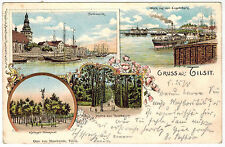 4-View Gruss, Litho,Ships in Harbour,Tilsit, Germany, now Sovetsk (Russia), 1899