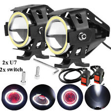 White Ring U7 Motorcycle LED Spotlight Fog Lamp with 2x switch For YAMAHA FZ16