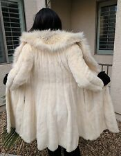 WOMEN'S BLONDE MINK & FOX FUR COAT WITH FULL PELTS