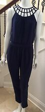 WHITE HOUSE BLACK MARKET SIZE 2 WOMEN LATTICE NECK JUMPSUIT