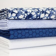 4 x FQ BUNDLE - FLOWER CARPET NAVY BLUE - 100% COTTON FABRIC dots FLORAL