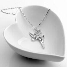 18K Weiß Gold Gp Plattiert Kristall Engel Tinkerbell Kurze Halskette