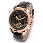 JARAGAR Date/Day Tourbillon Automatic Leather Mechanical Self-winding Watch