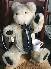 "Large TEDDY BEAR LAUREL BEARS Handcrafted Jointed Tan 31"" signed TAG RIP Artist"