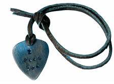I Pick You - Distressed Leather and Copper Guitar Pick Necklace - Hand Stamped