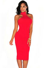 Red Mock Neck Key-Hole Back Knee Length Party Club Midi Dress