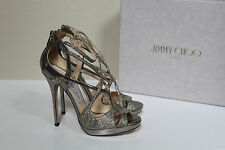 New sz 8 / 38 Jimmy Choo Silver Glitter Vermeil Strappy Ankle Sandal Shoes