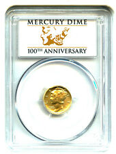 2016 Gold Mercury Dime 10c PCGS MS/SP70 (First Strike) with Original Box/Papers