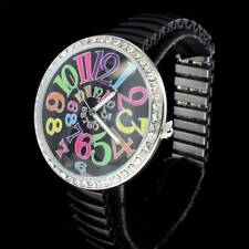 Black Large Stretch Ez To Read Designer Stylish Lady Womens Quartz Analog Watch