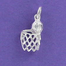 Basketball with Net Charm Sterling Silver 925 for Bracelet Sports Hoop Game