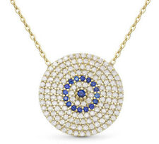 EVIL EYE PENDANT Chain Luck Protection Women Gold Plated Chain Necklace