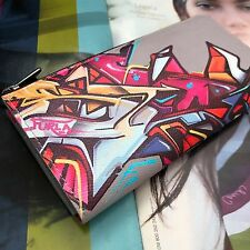 Furla Multi-color Graffiti Print Leather L-zip Long Wallet 774219 NWT Box