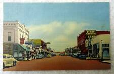 LINEN POSTCARD SCENE MAIN STREET MANY SIGNS LAS CRUCES NEW MEXICO #24