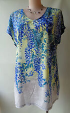 New Autograph blue yellow wisteria floral print tunic top plus size 16 NWT