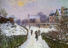 Hand painted Oil painting Claude Monet Boulevard St Denis Argenteuil Snow Effect