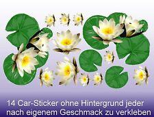 Tattoo Blumen Sticker im Set Seerosen Lotus Blüten für Auto-Caravan-Truck-Boot