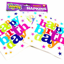 Happy Birthday napkins, packs of 20 paper napkins printed with 'Happy Birthday'