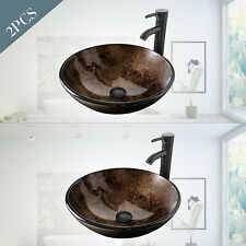2 PCS Bathroom Vessel Sink Drain Faucet Basin Vanity Bowl Ceramic Combo Round