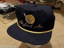 """Sunbird Air"" Adjustable Trucker Cap / Hat - Navy Blue Fabric w/ Yellow Trim"
