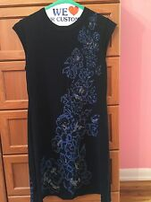 IISLI WOOL SLEEVELESS DRESS WITH FLORAL SEQUINS DETAILS - SIZE M