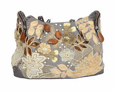 Auth Jamin Puech Double Handle Floral Motif Handbag Shoulder Bag