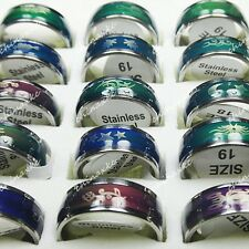 Change Color with mood 30pcs Wholesale Jewelry Lots Stainless Steel Enamel Rings