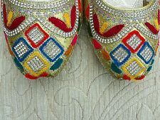 GOLD MULTI COLOR LADIES INDIAN WEDDING PARTY KHUSSA SHOE SIZE 7