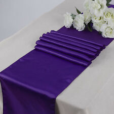"10 PCS Cadbury Puple 12""x108"" Satin Table Runner Wedding Anniversary Party"