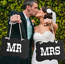 Mr & Mrs Couple Party Chair Signs for Wedding Photo Props Banner Decoration CHI