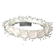 Wedding Silk Flower Band Halo Flower Girl Head Piece - White