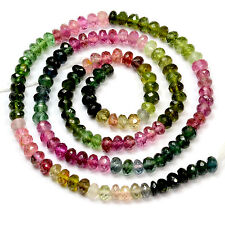 4.2MM Pink Blue Green Tourmaline Faceted Rondelle Beads 15.25 inch strand