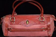 Cole Haan Sierra Tooled F06 Red Leather DISTRESSED Barrel Handbag WORN Purse Bag