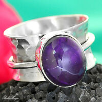 Spinner Sterling Silver Ring 925 Amethyst Gemstone Solid Band Size 6.5 Defect