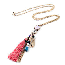 NEW * Urban Anthropolo​​gie Ottavia Chain Red Cloth Gemmed Dangling Necklace