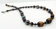 "Mens Tigers Eye Necklace Hematite Beads 18"" Handmade Jewellery By TaKuKai UK"